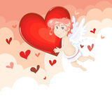 Cute Cupid flying with heart Royalty Free Stock Images