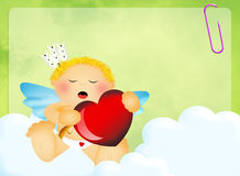 Cute Cupid with heart Royalty Free Stock Photography