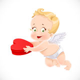 Cute cupid holding a box with a gift Royalty Free Stock Images
