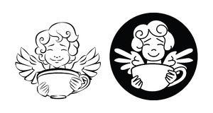A cute cupid, holds a cup of coffee. A cute, smiling cupid, with curly hair, holds a cup of coffee Stock Photo