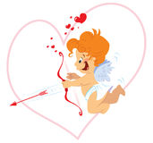 Cupid with bow. A cute cupid with orange hair and red bow and arrow vector illustration