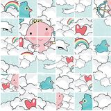 Cute cupid puzzle pattern. Stock Photos