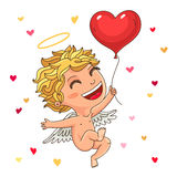 Cute cupid with a red balloon Royalty Free Stock Photos