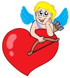 Cute cupid resting on heart Stock Images