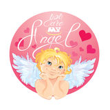 Cute Cupid in the round pink frame. Valentines Day card design. Stock Image