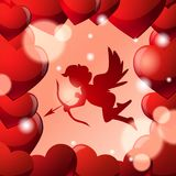 Cute Cupid Silhouette In Frame Of Red Heart Shapes Over Glowing Background. Vector Illustration Royalty Free Stock Photos