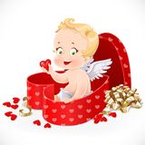 Cute cupid sitting in a gift box in heart shape Stock Photography