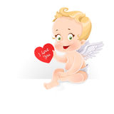 Cute Cupid sitting on horizontal banner and gives a valentine Stock Image