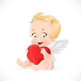 Cute cupid sitting and hugging a soft red pillow heart Royalty Free Stock Photography