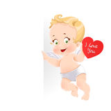 Cute cupid with valentine card holding a large vertical banner Stock Photo
