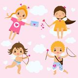 Cute Cupids in kawaii style. Love angels with arrows, archery and hearts. St Valentine`s day theme Stock Photo