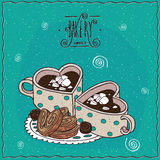 Cute cups of coffee in the shape of heart. And chocolate candies and cookies, lie on lacy napkin. Cyan background and ornate lettering bakery. Handmade cartoon Stock Image