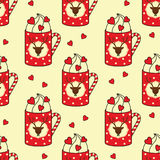 Cute cups with deer, candy cane, hearts seamless pattern. Stock Images