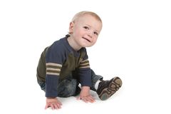Cute Curious Little Baby Boy Looking Around Stock Photo