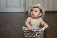 Cute curious little baby boy in straw hat sitting in the box stock photos