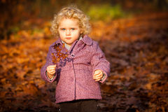 Cute curly baby in autumn leafs royalty free stock photo