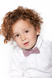 Cute Curly Baby Boy in White Long Sleeves Royalty Free Stock Images