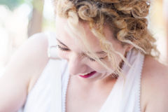 Cute curly blond girl Royalty Free Stock Images