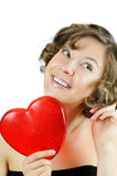 Cute curly cupid-girl with heart stock photography