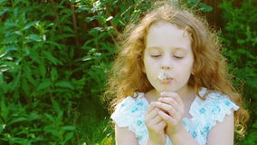 Cute curly girl blowing dandelion. Little curly girl blowing dandelion stock video footage