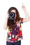 Cute curly girl with camera isolated Royalty Free Stock Image