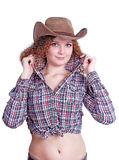 Cute curly girl in a cowboy hat. On a white background Stock Image