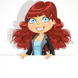 Cute curly haired girl holding a large banner Royalty Free Stock Photo