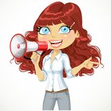 Cute curly haired girl  talking into a megaphone Royalty Free Stock Photo