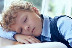 Cute curly tired and exhausted primary school student falling asleep while studying. Tired and exhausted primary school student falling asleep while studying stock image