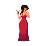 Cute curvy, overweight girl in red evening dress drinking cocktail Royalty Free Stock Photo