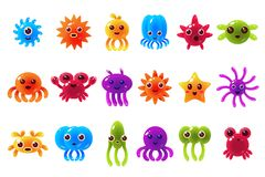 Cute cute seta creatures sett with different emotions, colorful glossy underwater animals characters with funny faces Stock Image