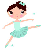 Cute cyan Ballerina girl. Little ballerina in jumping pose. Vector Illustration Stock Photography