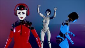 Cute cyborg girls dancing on the catwalk in neon light. Artificial Female Android dance. Artificial intelligence