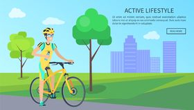 Cute Cyclist with Bottle on Bike, Active Lifestyle stock illustration