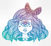 Cute cyclops monster girl portrait. Cute cyclops monster girl. Portrait of young beautiful lady with one eye and lovely hair with a ribbon for t-shirt design or Royalty Free Stock Photography