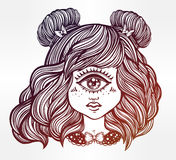Cute cyclops monster girl portrait . Cute cyclops monster girl. Portrait of young beautiful lady with one eye and lovely hair for t-shirt design or post card Stock Photo