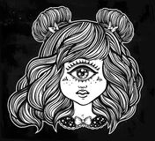 Cute cyclops monster girl portrait . Cute cyclops monster girl. Portrait of young beautiful lady with one eye and lovely hair for t-shirt design or post card Royalty Free Stock Image