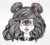 Cute cyclops monster girl portrait . Cute cyclops monster girl. Portrait of young beautiful lady with one eye and lovely hair for t-shirt design or post card Stock Image