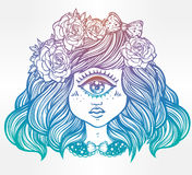 Cute cyclops monster girl portrait . Cute cyclops monster girl. Portrait of young beautiful lady with one eye and roses in her hair for t-shirt design or post Royalty Free Stock Images