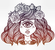 Cute cyclops monster girl portrait . Cute cyclops monster girl. Portrait of young beautiful lady with one eye and roses in her hair for t-shirt design or post Stock Photography