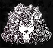Cute cyclops monster girl portrait . Cute cyclops monster girl. Portrait of young beautiful lady with one eye and roses in her hair for t-shirt design or post Royalty Free Stock Image