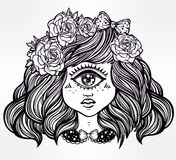 Cute cyclops monster girl portrait . Cute cyclops monster girl. Portrait of young beautiful lady with one eye and roses in her hair for t-shirt design or post Stock Images
