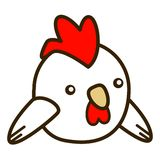 2D Cartoon chicken bird flat design. Cute 2D cartoon chicken in a flat design style. fat and round Stock Photography