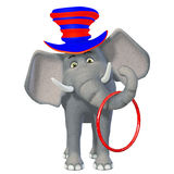Cute 3d cartoon circus elephant Stock Photos