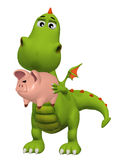 Cute 3d cartoon dragon with Piggy Bank Stock Photo
