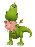 Cute 3d cartoon dragon with Piggy Bank Stock Photo