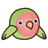 2D Cartoon Peach faced love bird flat design. Cute 2D cartoon peach faced love bird in a flat design style. fat and round Royalty Free Stock Photo