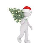 Cute 3d character in santa hat Christmas tree Royalty Free Stock Photography