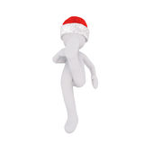 Cute 3d character in santa hat kicking foot Stock Images