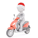 Cute 3d character in santa hat moped Royalty Free Stock Photo
